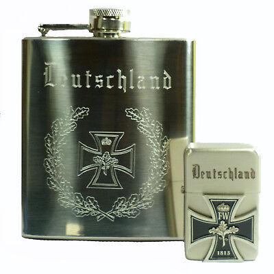 Flachmann + Sturmfeuerzeug Eisernes Kreuz Deutschland Set Metall