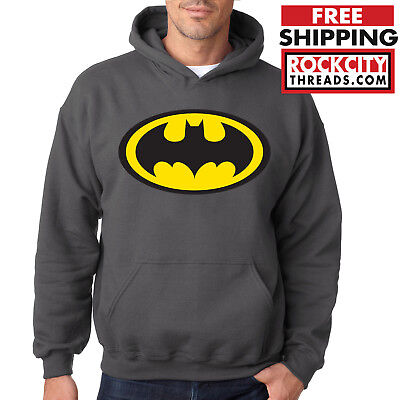 BATMAN LOGO CHARCOAL HOODIE Dark Knight Hooded Sweatshirt Joker Robin Symbol DC](Dark Knight Hoodie)