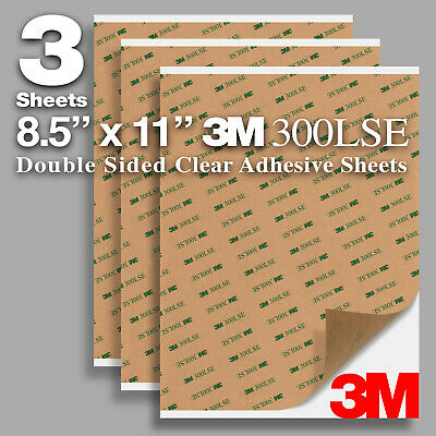 Pack 3 Sheets 8.5x11 Clear Super Sticky Double Sided Adhesive 3m 300lse 9495le