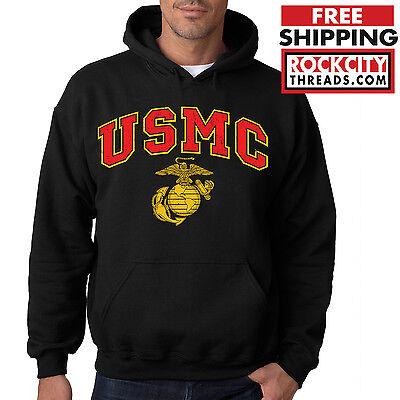 USMC MARINES HOODIE BLACK Sweatshirt Marine Corps Pullover Hoody semper fi US