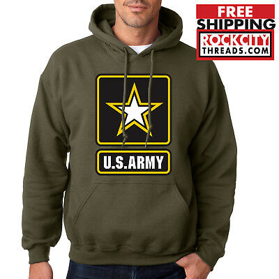 Army Logo Hooded Sweatshirt - ARMY LOGO MILITARY GREEN HOODIE United States Usarmy Ranger US Hooded Sweatshirt