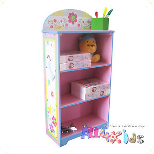 Kids-Girl-Hand-Paint-Wooden-Fairy-Bookcase-Bookshelf-Storage-Cabinet-Organiser