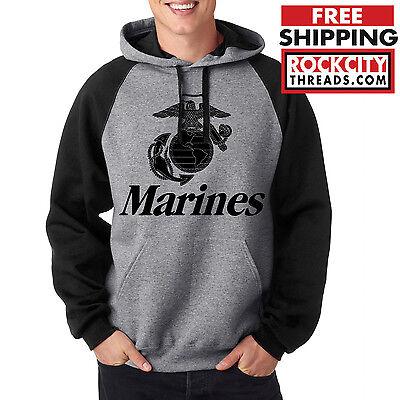 MARINES RAGLAN HOODIE Usmc Us Hooded Military Sweatshirt Marine Corps Semper Fi
