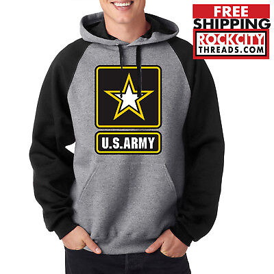 Army Logo Hooded Sweatshirt - ARMY LOGO RAGLAN HOODIE Military United States Usarmy Ranger Hooded Sweatshirt