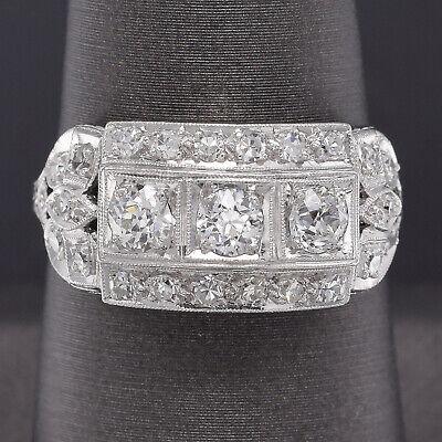 Antique Platinum 1.04 TCW Old Euro Diamond Art Deco Band Ring 5.0 Grams Size 8