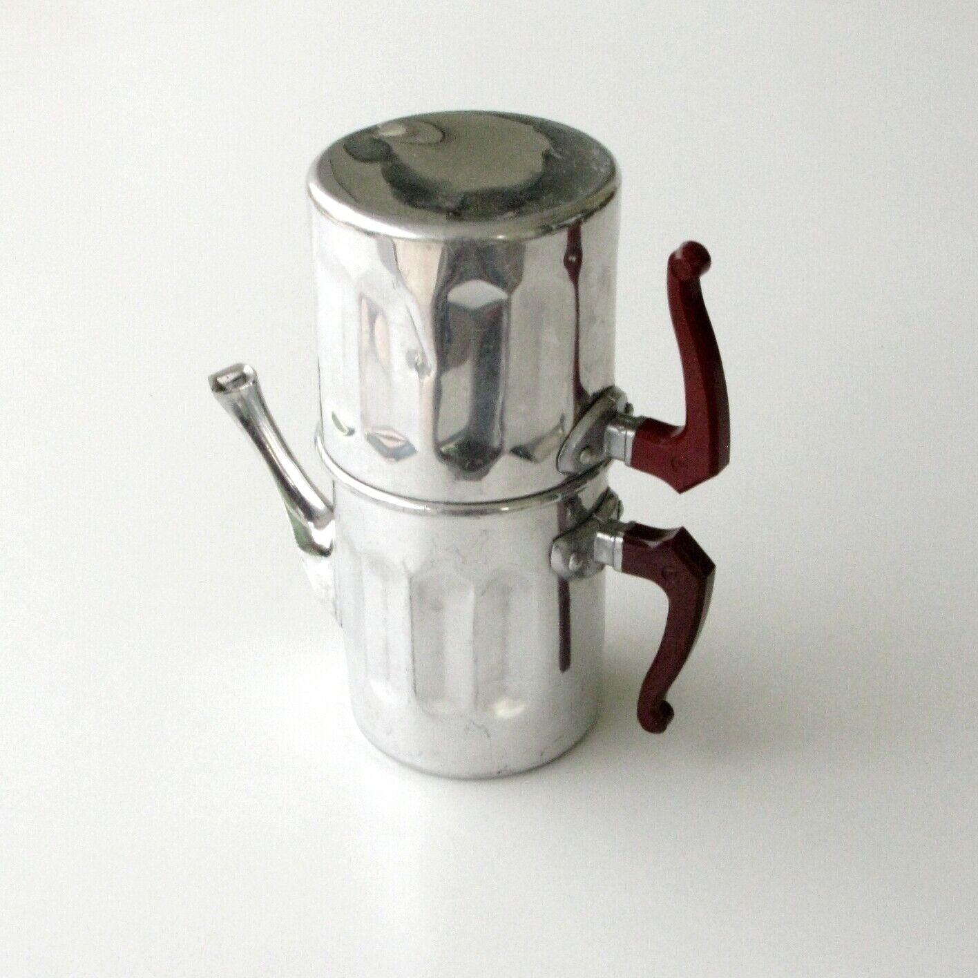 Très ancienne petite cafetière alu - complète avec filtre - kafexpress savoie