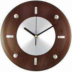 Timekeeper 11-Inch Round Espresso Brown Woodgrain Wall Clock with Silver Accent
