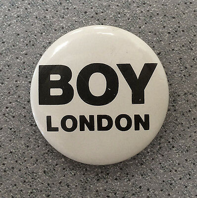 RARE Vintage 80s BOY LONDON Promo pinback button badge safety pin back fashion
