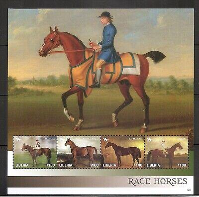Liberia  Race Horses - Crucifix, Bay middleton ETC - -. Miniature Sheet. MNH for sale  Shipping to Canada