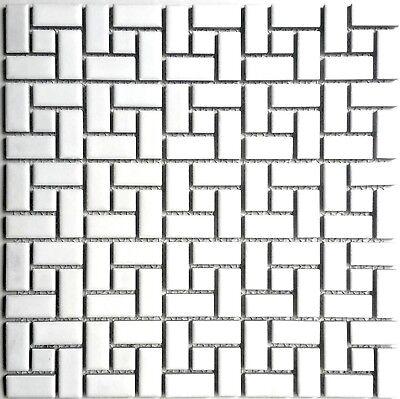 Mosaic Floor Tile - White And White Dot Pinwheel Porcelain Mosaic, Floor And Wall Backsplash Tile
