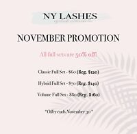 Nov. Promotion - 50% off Eyelash Extension Full sets