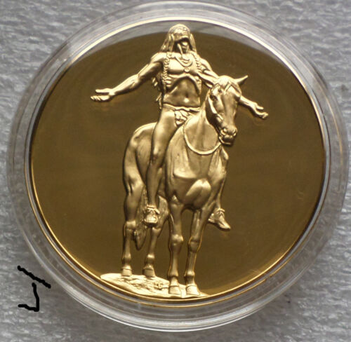 """24K Gold on Bronze Medal """"Appeal To The Great Spirit"""" Cyrus Dallin Indian Statue"""