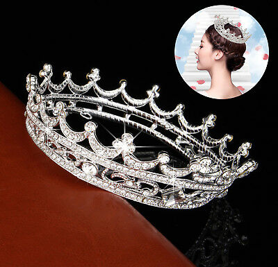 Queen Clear Austrian Rhinestone  Tiara  Bridal Pageant Prom Party Crystal -