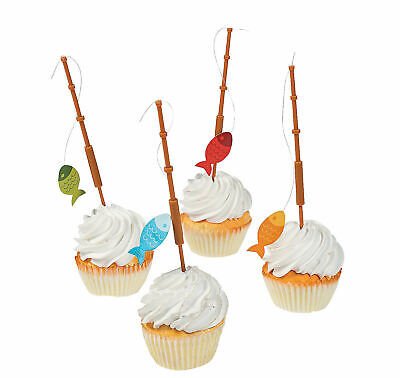 25 Little FISHERMAN FISHING Pole CUPCAKE FOOD PICKS Birthday Party Big ONE - Fishing Birthday