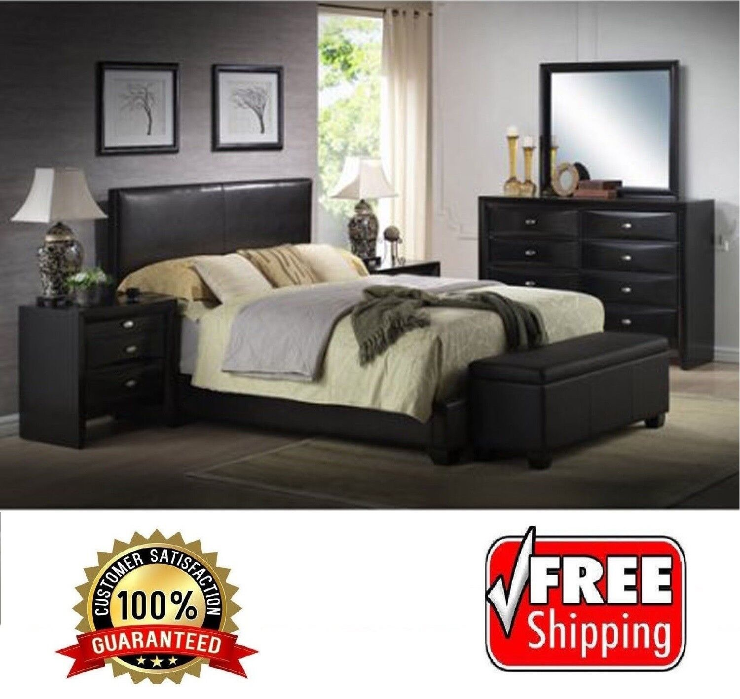 Queen Size Faux Leather Platform Bed Frame Slats Upholstered