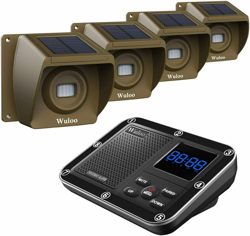 Wuloo 500M Long Range Solar Driveway Alarms Wireless Outdoor Motion Sensor Alarm