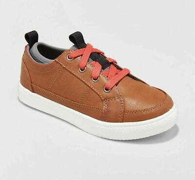 Brown Boys Sneakers - Boys' Arlo Sneakers - Cat & Jack Faux Leather Lace Up  Brown Size 6
