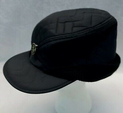 Vtg Black Quilted Nylon Ski Cap Ear Flaps Insulated Snow Hat 7 1/2  USA Pin
