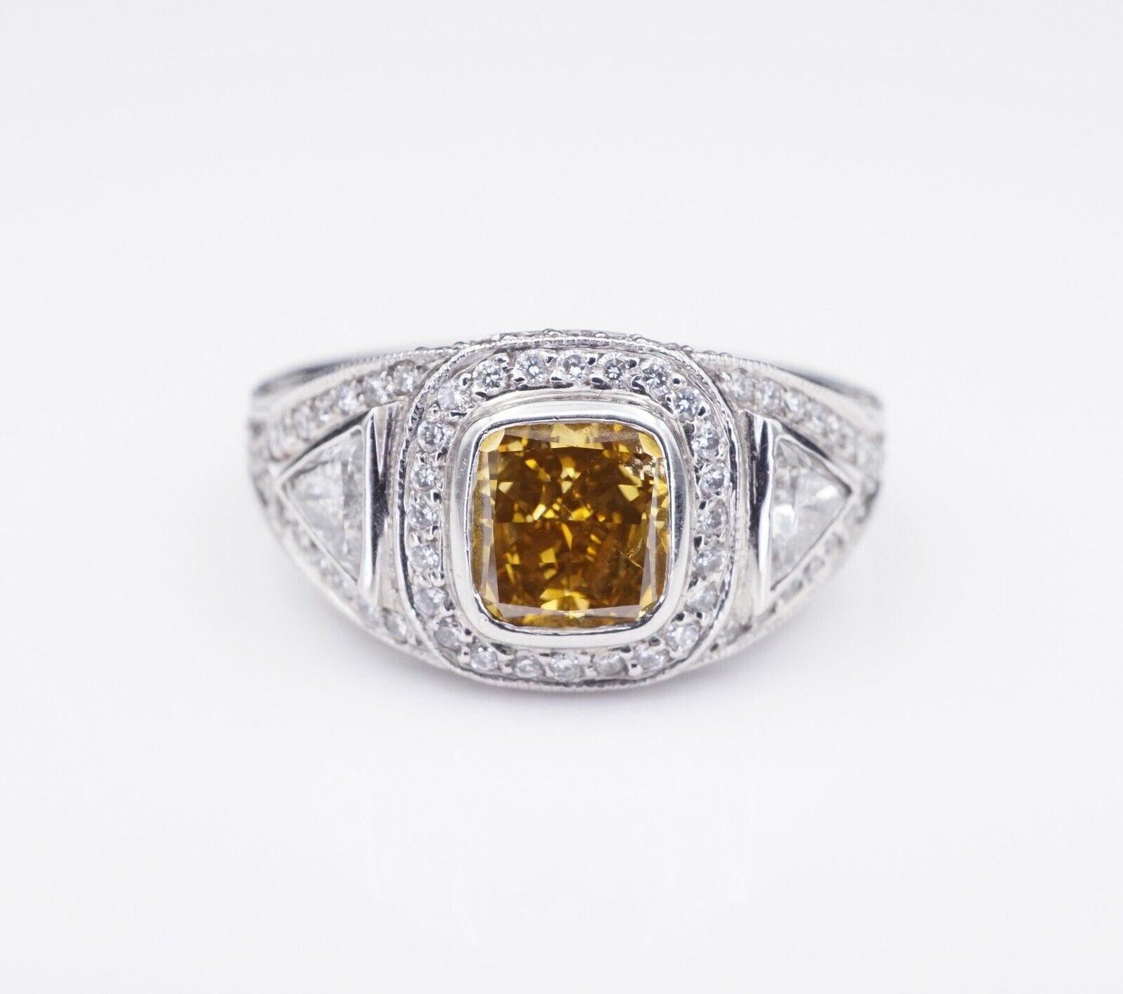 Platinum 3ct Orange-Yellow Diamond Halo Engagement Ring Size 6.75 GIA CO450