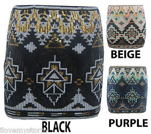 NEW LADIES BLACK GOLD SEQUINS AZTEC MINI BODYCON WOMENS SEXY SKIRT SIZE 8-14