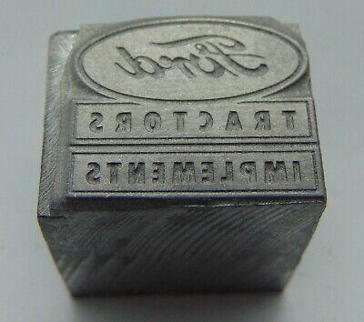 Vintage Printing Letterpress Printers Block Ford Tractor Implements All Metal
