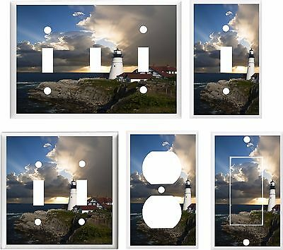 Lighthouse Light Switch Covers -  LIGHT SWITCH COVER PLATE LIGHTHOUSE STORMY SUNSET    YOU PICK  SIZE