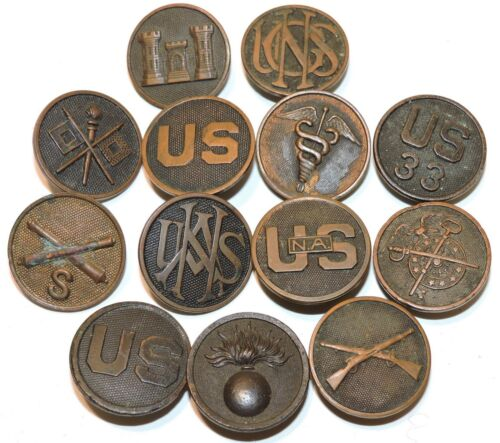 Lot of 13 US WWI enlisted collar insignia