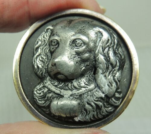 ANTIQUE BRASS & PEWTER PICTURE BUTTON ~ ST BERNARD DOG