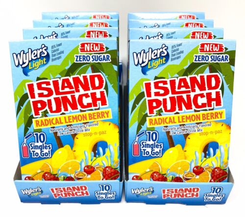 Wylers Light Island Punch Radical Lemon Berry Singles To Go Drink Mix 8 Boxes - $20.00
