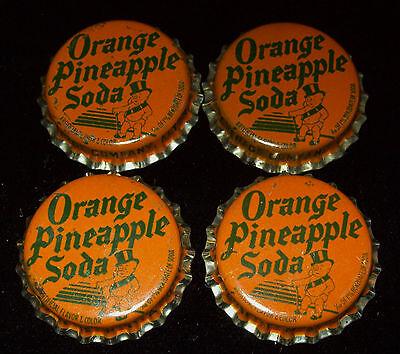 Lot of 4 Vintage Duke Orange Pineapple Unused Soda Pop Bottle Caps Baby Top Hat
