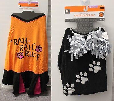 2-SET XL Cheerleader Hund Kostüm Schwarz Orange T-Shirt SPORTS Fußball Kleid Neu