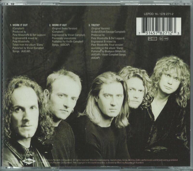 DEF LEPPARD - WORK IT OUT / TRUTH? 1996 UK CD SINGLE LEPDD 16 W/ 4 POSTCARDS