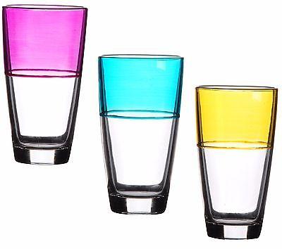 Conjunto De 3 Classy Diversión Vidrio Color Hi Bola Vasos Rosa Azul...