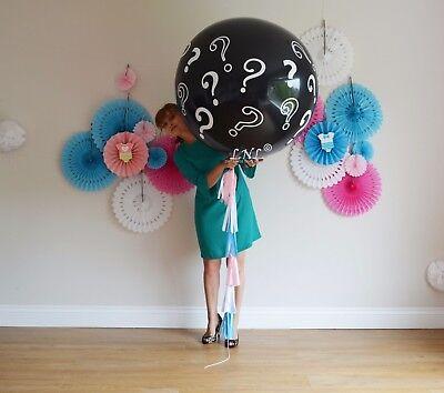 Gender Reveal Balloon butterfly Confetti Tail Tassel Baby Shower Tail Pop Black - Balloon Pop Gender Reveal