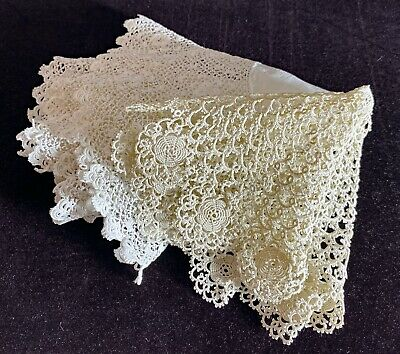 SALE Pair Of Antique Vintage Handmade Tatted Lace Square Doilies Miniature Dollhouse Rugs Ivory