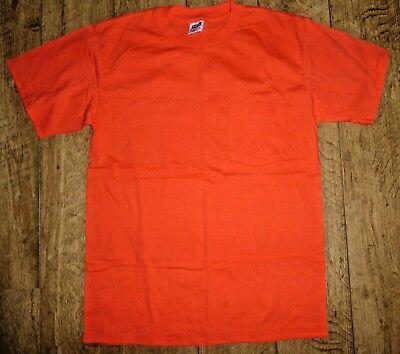 Anvil Preshrunk Cotton Orange Safety Work Short Sleeve Front Pocket T-Shirt, M