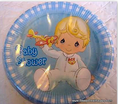 Precious Moments Party PLATES BOY Baby Shower Birthday Supplies BLUE Lunch x8 - Baby Shower Plates