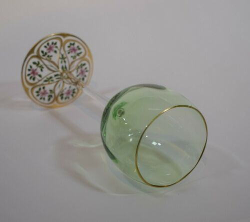 Moser Wine Green Goblet w/Hand Painted Base - Circa 1930