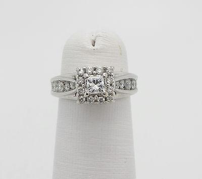 Zales 1/2CT Princess Cut Diamond Halo Engagement Wedding Ring 14K White Gold