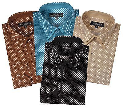 Men's Fashion mini-polka dot dress shirt Double collar Angel-cuff by Georges - Double Collar Dress