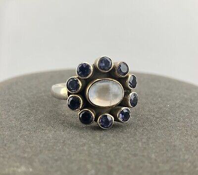 Sterling Silver Beautiful Nicky Butler Moon Stone And Iolite Ring Size 9 Iolite Moonstone Ring