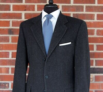 Valentino Uomo Mens Charcoal Gray 3 Button Wool Sport Coat Blazer Jacket 40R