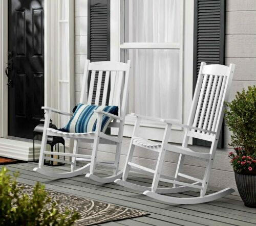 Mainstays Outdoor Acacia Hardwood Porch Rocking Chair, Weather Resistant, White