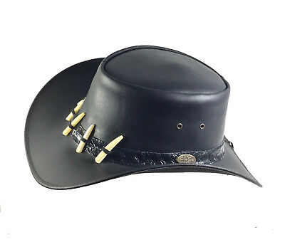 Men's/Women's Leather Cowboy Hat with Crocodile Teeth Band - 2 Colours (Crocodile Cowboy Hat)