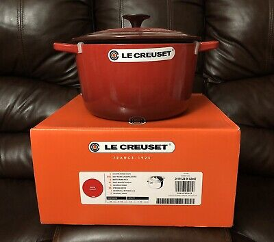 Le Creuset Signature Dutch Oven Cast Iron 5.25Qt #24 Cherry Red (Deep Pot) Deep Dutch Oven