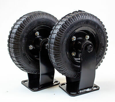 8 Inch Rigid Nylon Air Filled Pneumatic Plate Mounted Caster Wheel 430lb 2pk