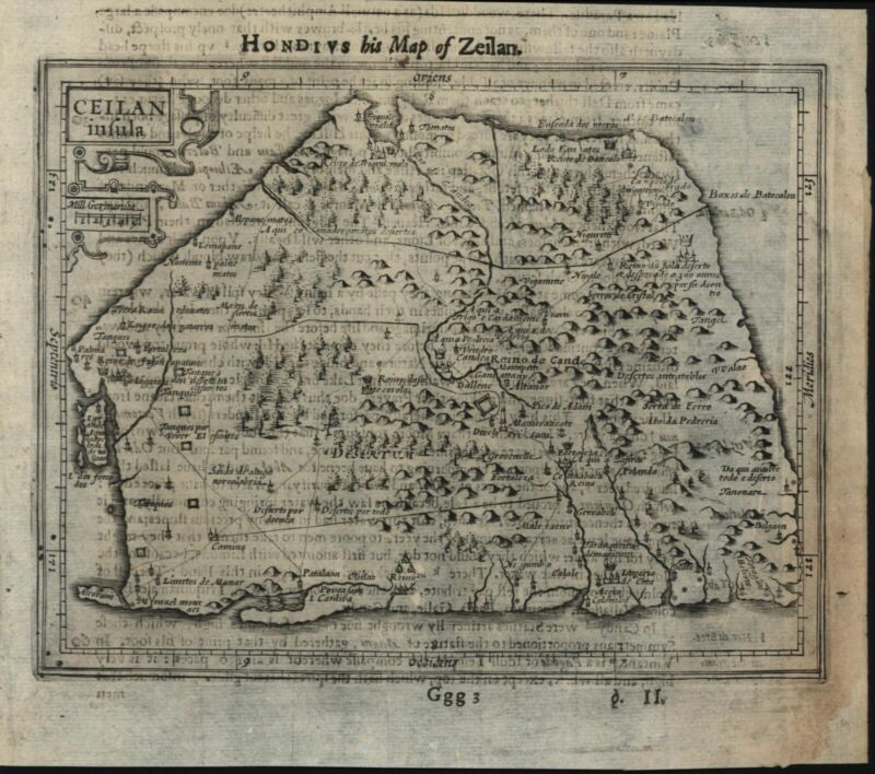 Ceylon India island by itself 1626 Purchas Hondius scarce miniature map