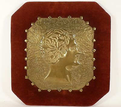 Vintage ARTS & CRAFTS Hand Hammered Repousse Brass on Velvet SILHOUETTE Portrait - Arts Crafts Silhouette