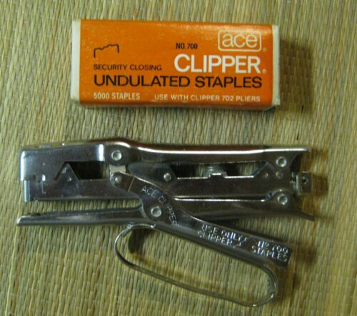 Ace Clipper Stapler 700 and 1 Box Undulated Staples