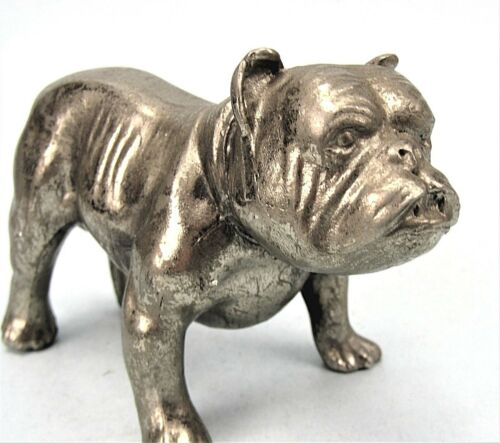 TOUGH OLD BULLDOG FIGURINE VINTAGE SILVERED METAL SCOWLING DOG PAPERWEIGHT 1950s